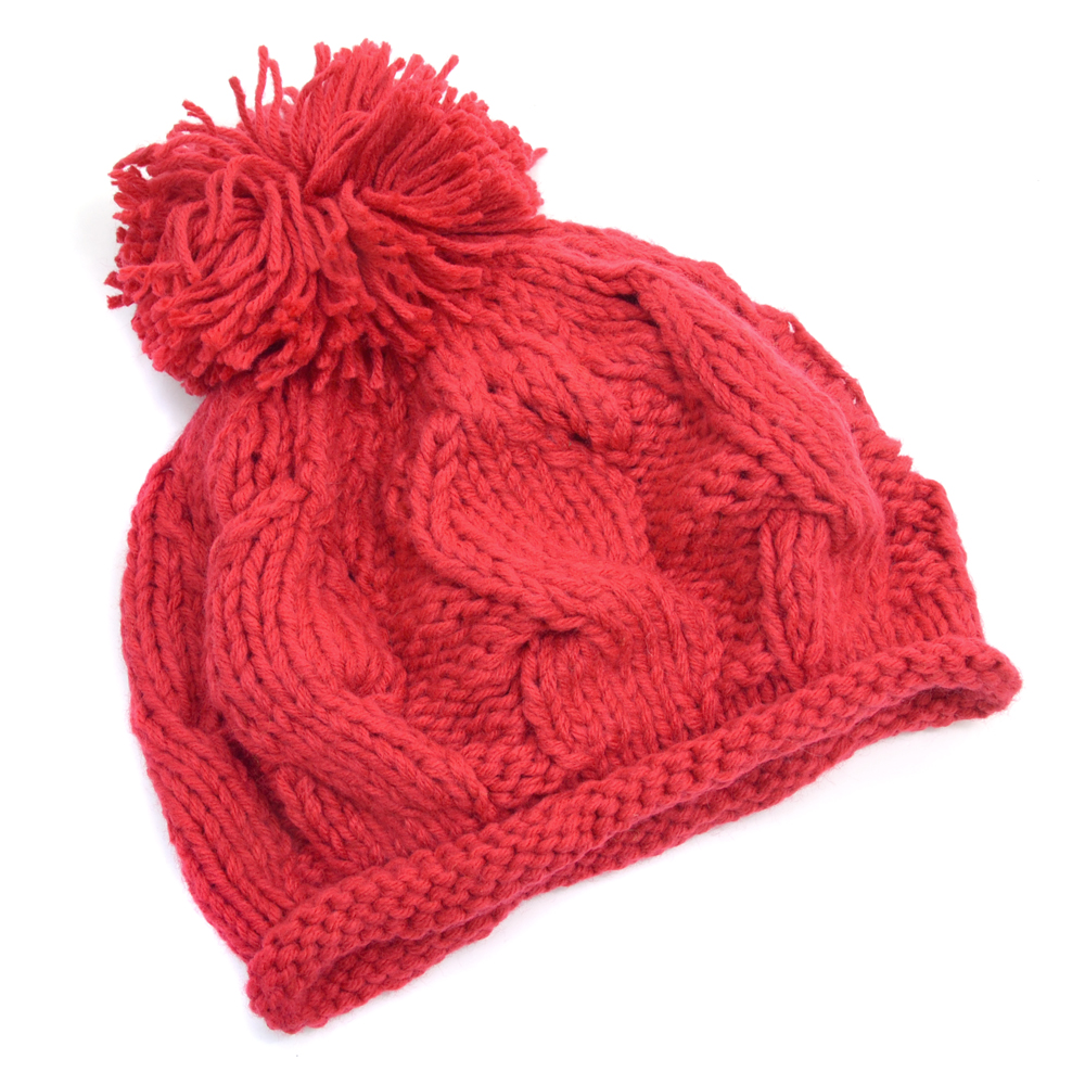 Cable Knit Beanie with Pom Pom Accent