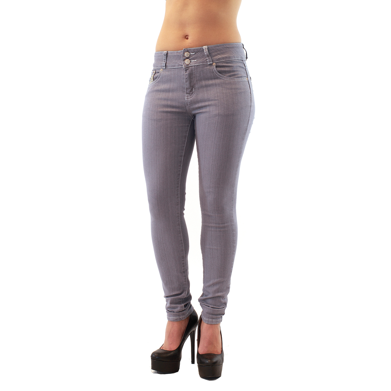 Mid Waist Double Button Light Grey Denim