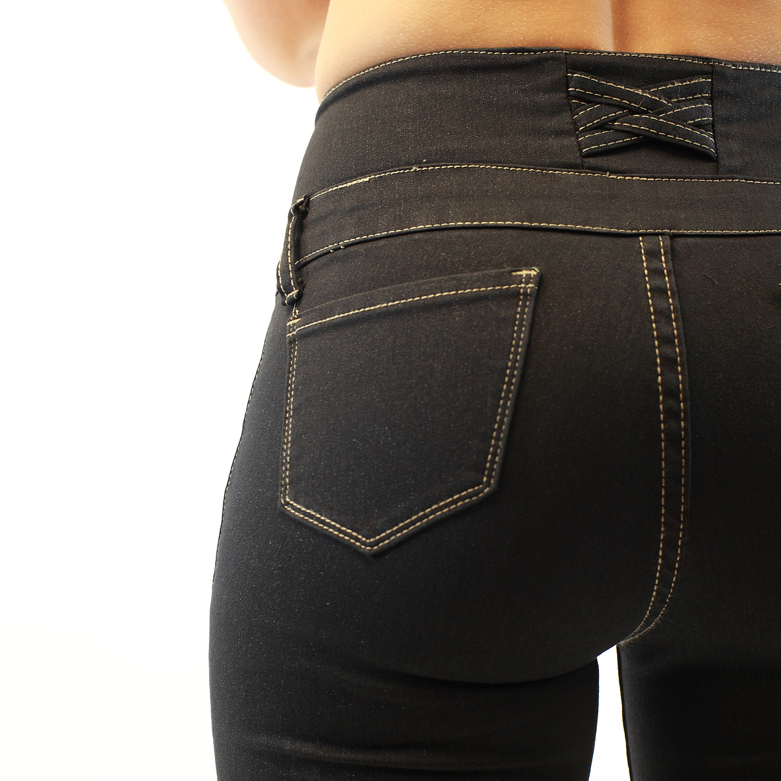 High-Waist 4 Button-On Dark Navy Denim