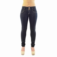3 Button-On Dark Navy Mid-Waist Denim with Yellow Stitching