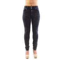 Black Acid Washed Mid-Waist Denim Jeans