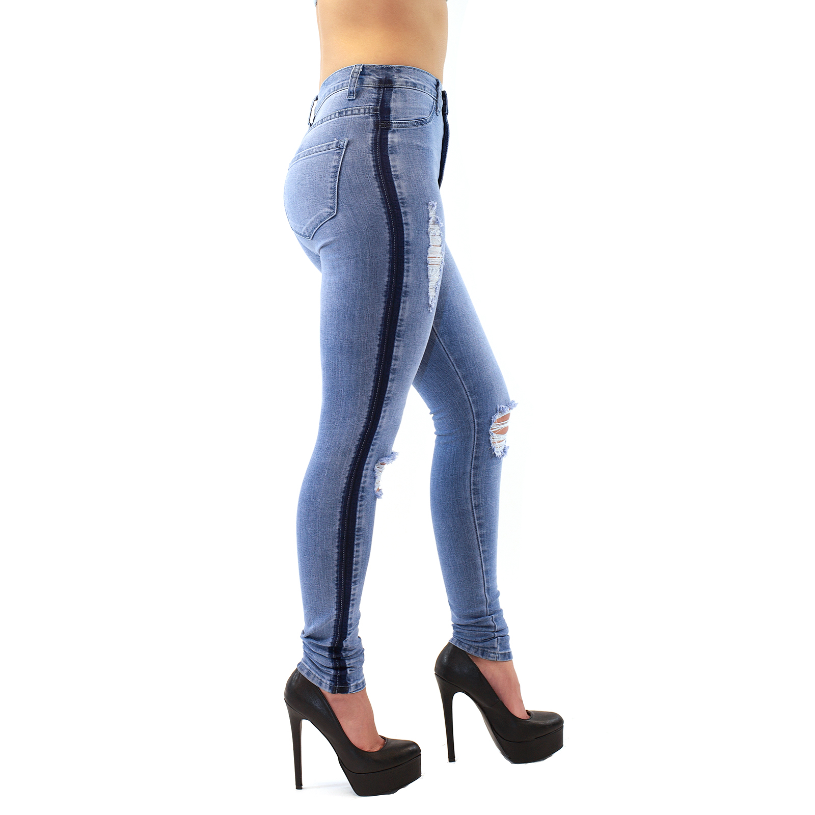 High-Waist Two Tone Blue Skinny Jeans