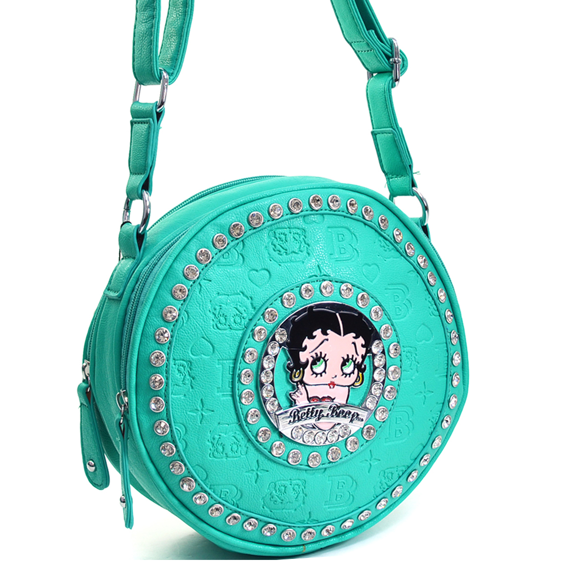 Betty Boop® Cylinder Messenger Bag With Embossed Print & Rhinestones