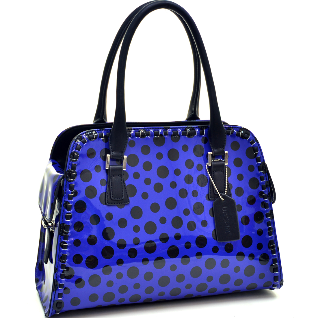 Dasein® Woven Edge Glossy Polka Dot Satchel With Side Pockets