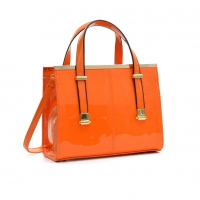 Faux Patent Leather Gathered Top Tote Satchel