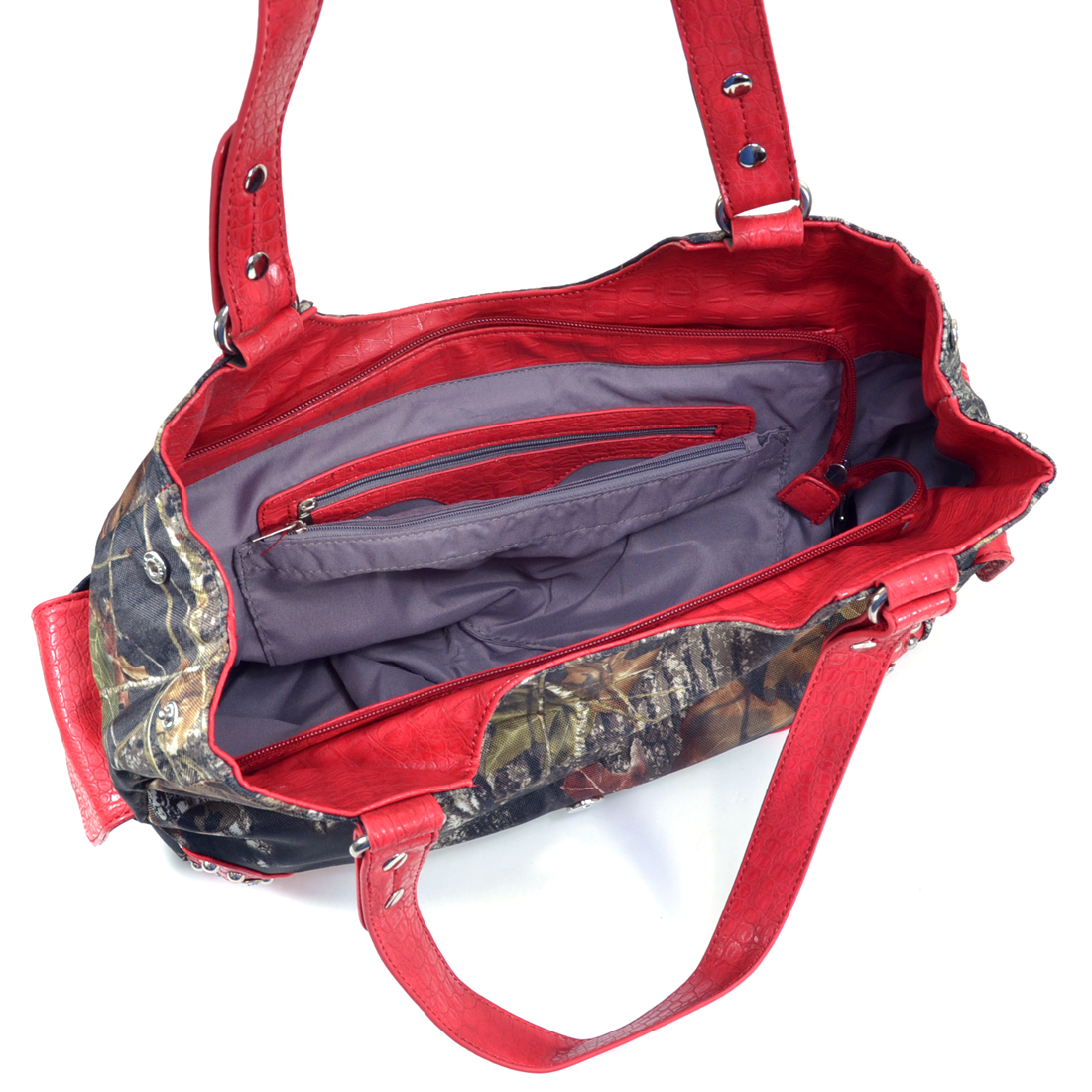 Mossy Oak® Arctic Camo Rhinestone Buckle & Croco Trim Shoulder Bag