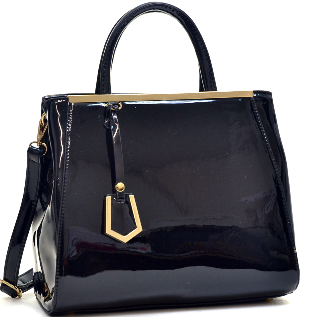 Patent Faux Leather Tote with Gold-Tone Accent