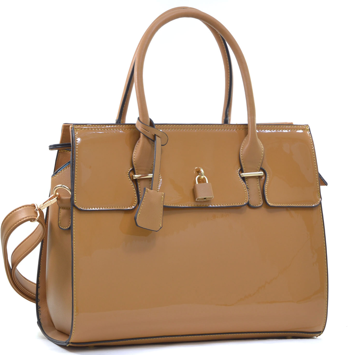 Patent Faux Leather Padlock Satchel with Shoulder Strap