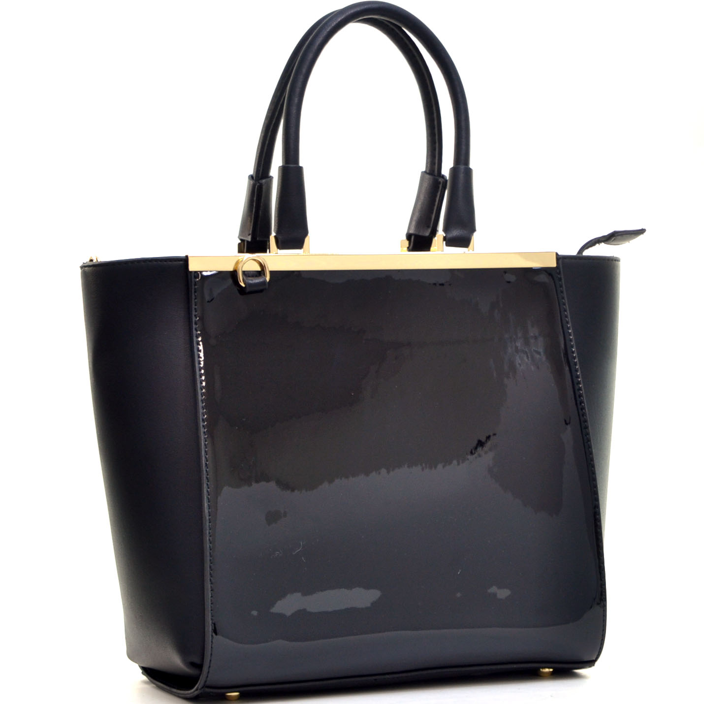 Patent Faux Leather Gold-Tone Satchel with Shoulder Strap