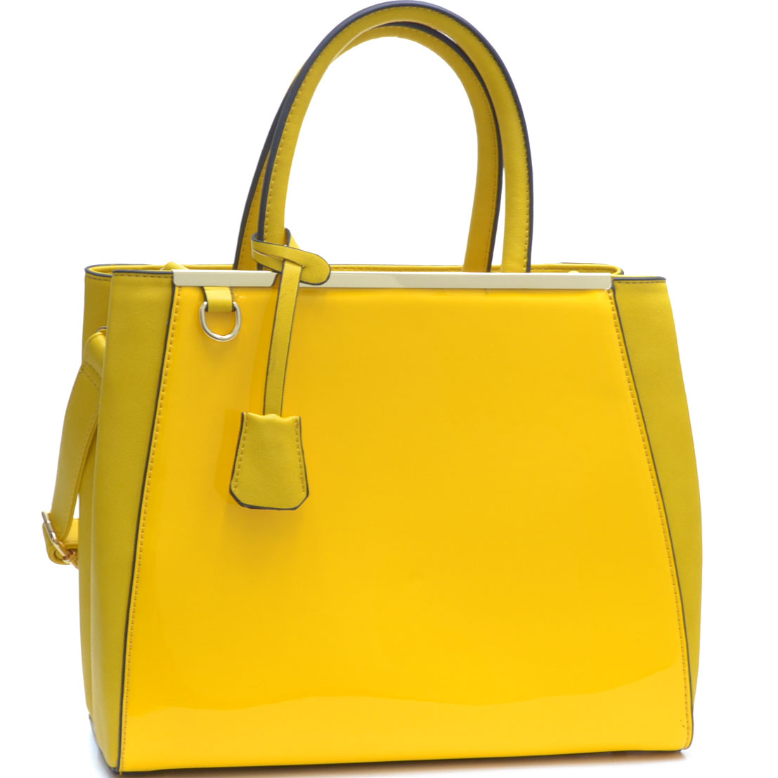 Structured Patent Leather Gold-Tone Satchel with Shoulder Strap
