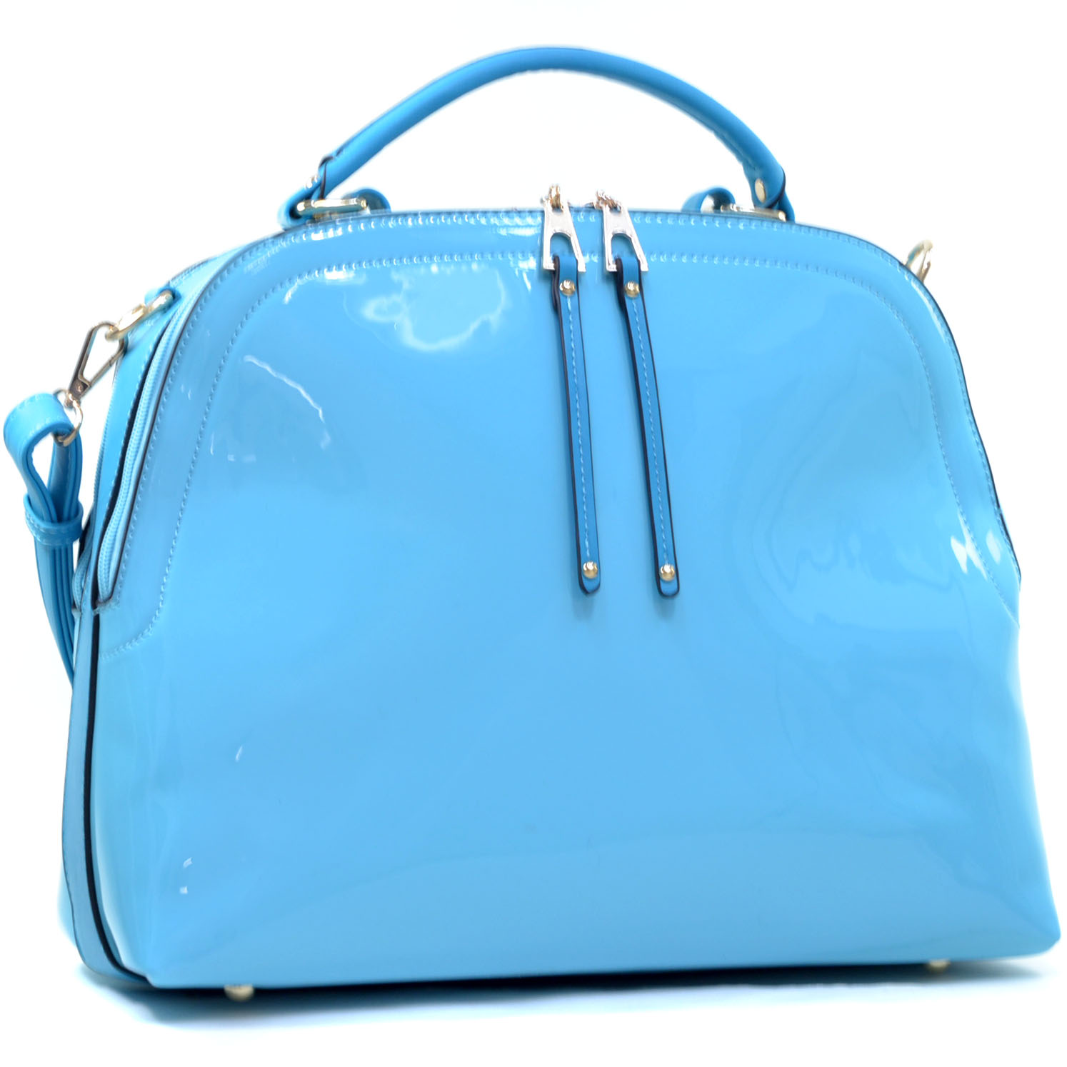 Patent Faux Leather Dome Satchel with Shoulder Strap