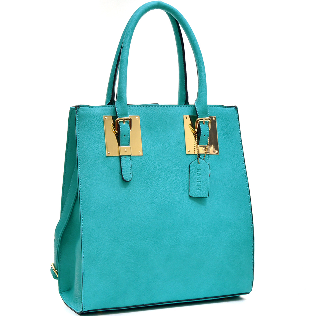 Structured Faux Leather Tote Bag with Gold-Tone Accent
