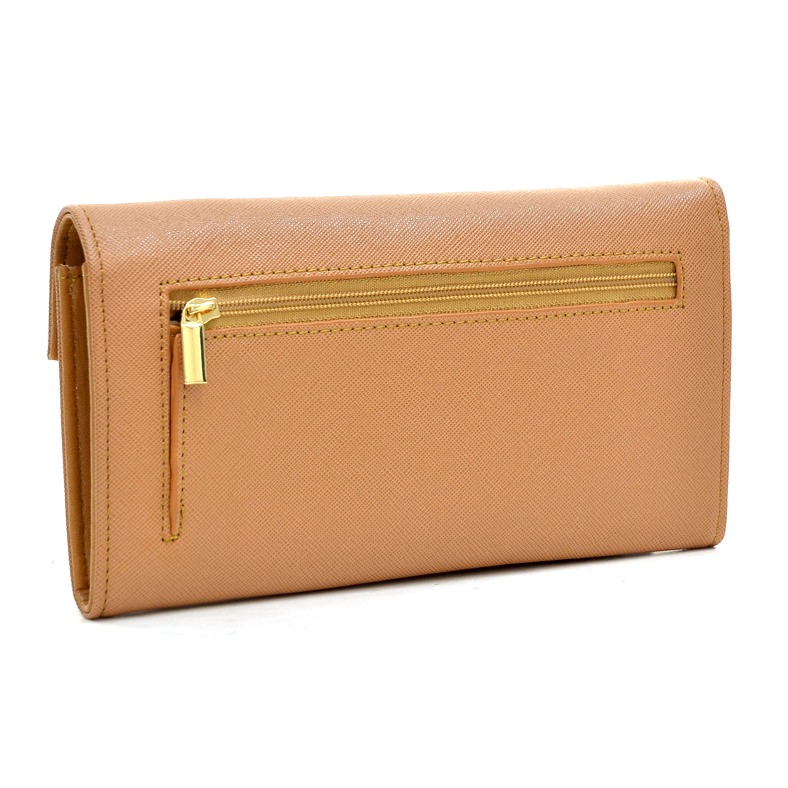 Gold-Tone Saffiano Faux Leather Wallet