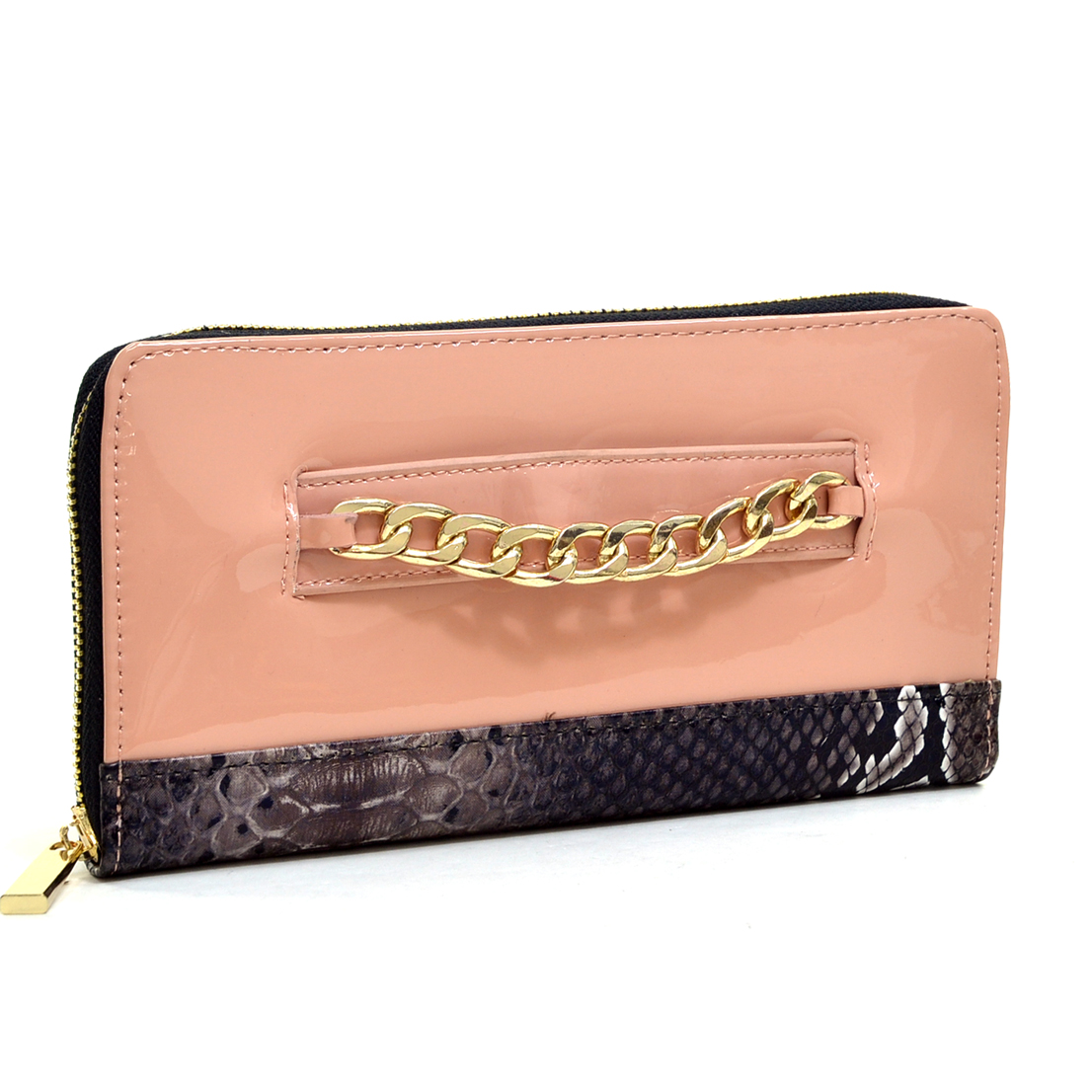 Gold-Tone Corner Faux Leather Push Lock Wallet