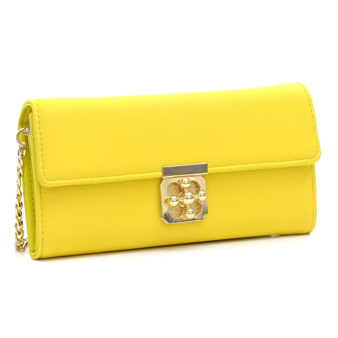 Gold-Tone Chained Faux Leather Twist-Lock Wallet