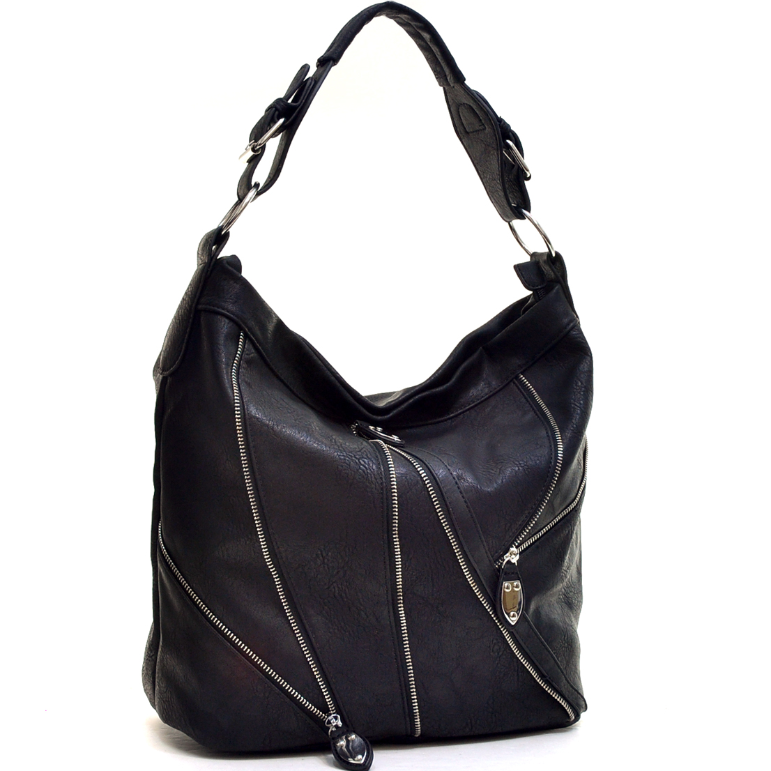 Silver-Tone Zipper Front Hobo Bag with Buckle Shoulder Strap