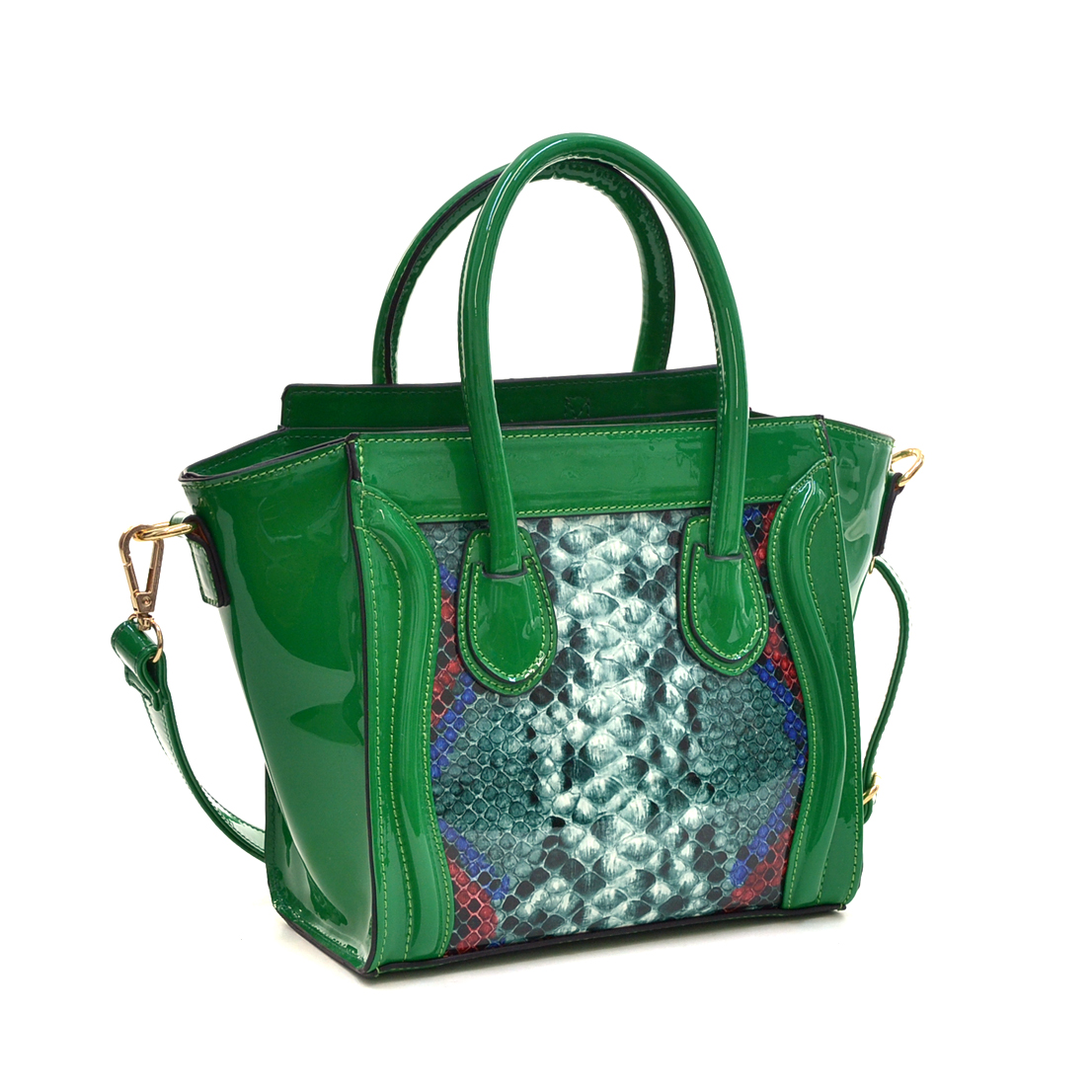 Patent Faux Leather with Snakeskin Detail Satchel