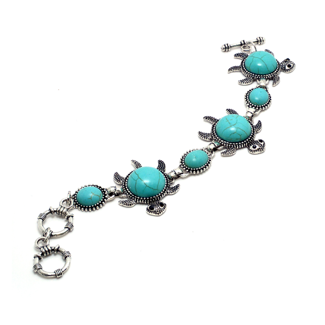 Sea Turtle Turquoise Bracelet with Toggle Closure