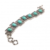 Antique Turquoise Square Bracelet with Toggle Closure
