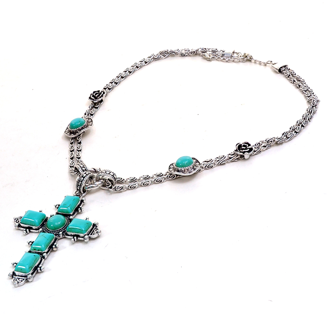 Faith-Inspired Turquoise Cross Pendant Necklace