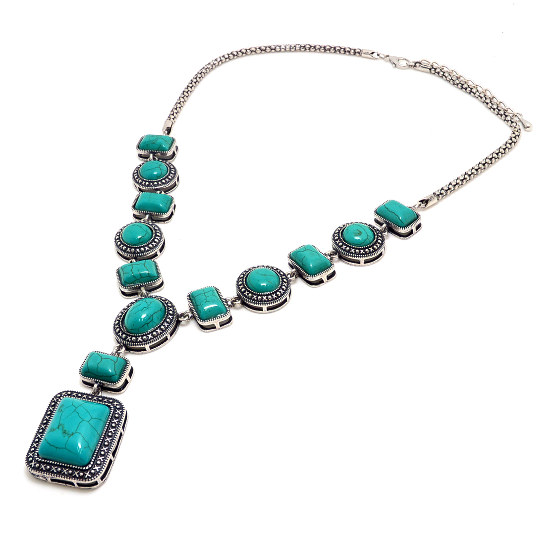 Antique Turquoise Stone Pendants with Silver-Tone Chain