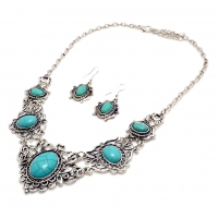 Turquoise Lace Bib Necklace with Matching Earrings Set