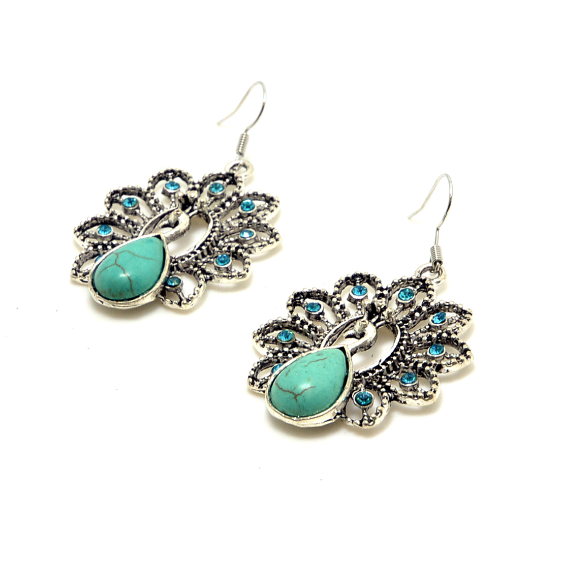 Turquoise Peacock Earrings with Aqua Blue Rhinestones