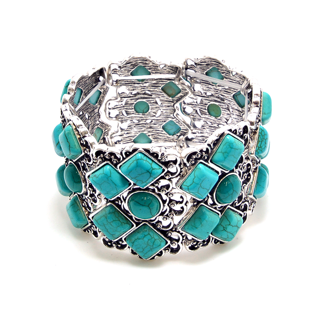 Turquoise Diamond Stretch Filigree Bracelet
