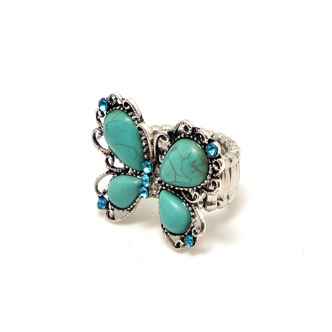 Turquoise Butterfly Ring with Aqua Blue Rhinestones
