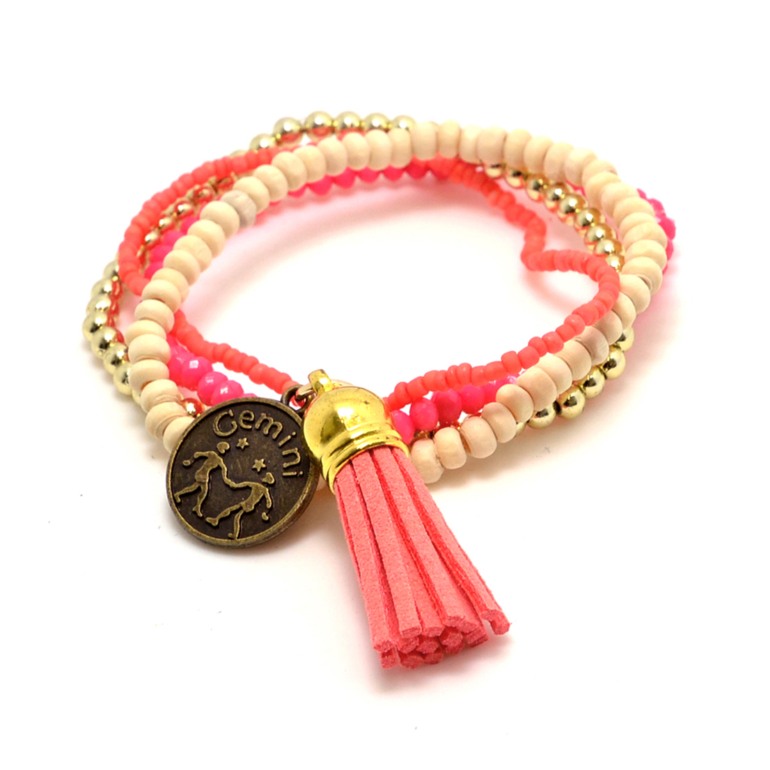Multi-Strand Stretch Bracelet with Zodiac Charm and Tassel