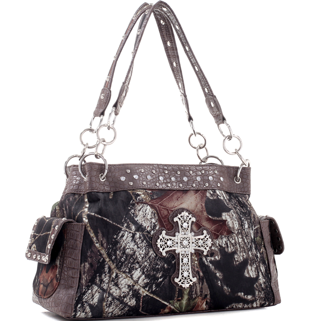 Mossy Oak® Camouflage Rhinestone Studded Cross Shoulder Bag
