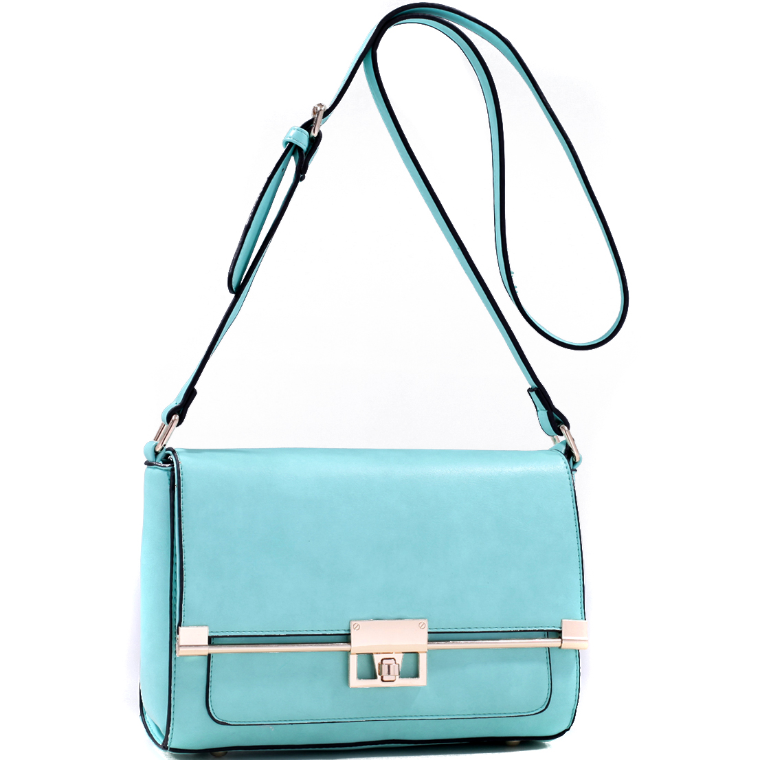 Faux Leather Metal Trim Crossbody Bag