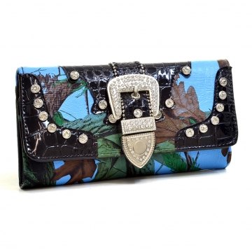 Patent Faux Leather Croc Rhinestone Buckle Tri-Fold Wallet