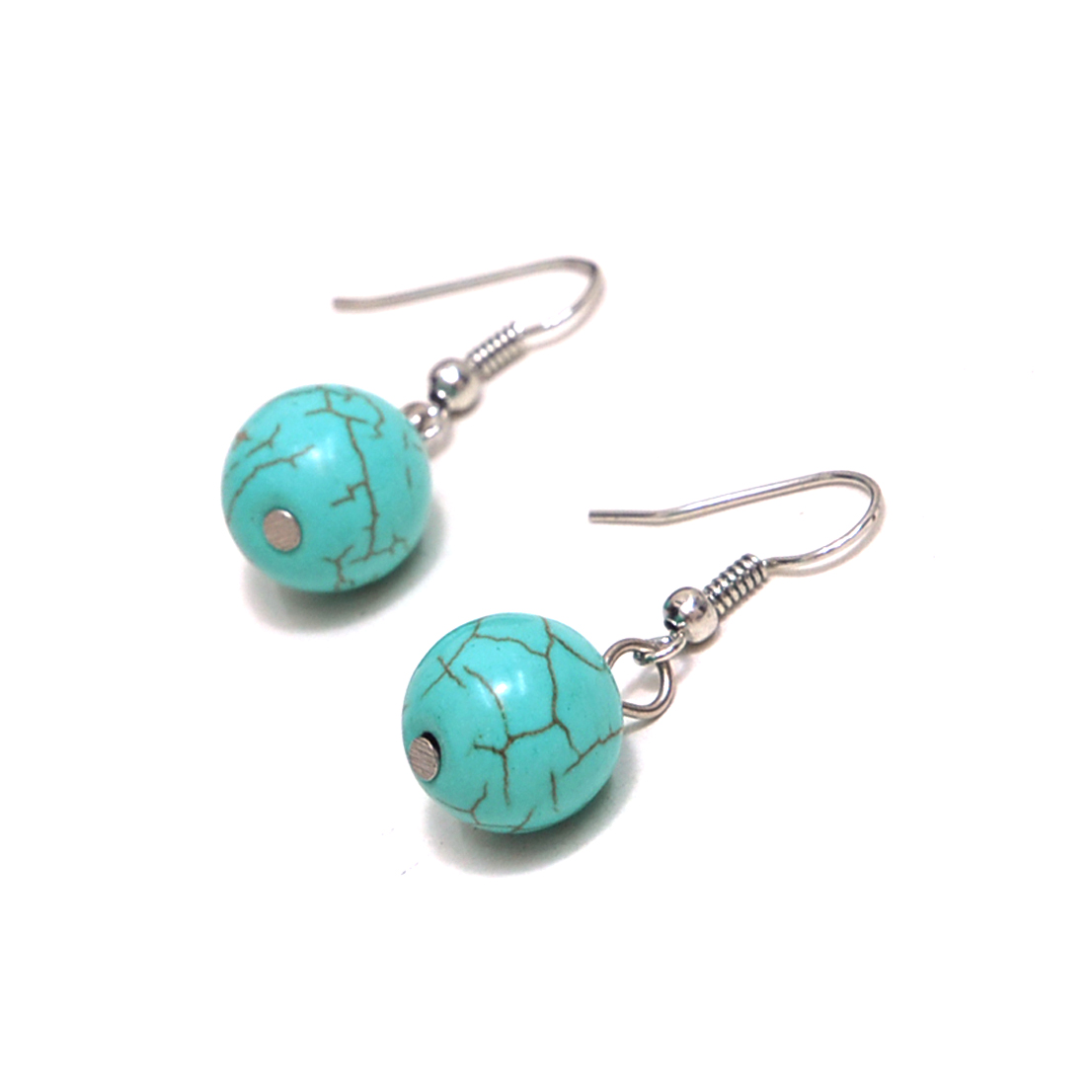 Classic Half-Classic Turquoise Round Dangle Earrings Turquoise Dangle Earrings