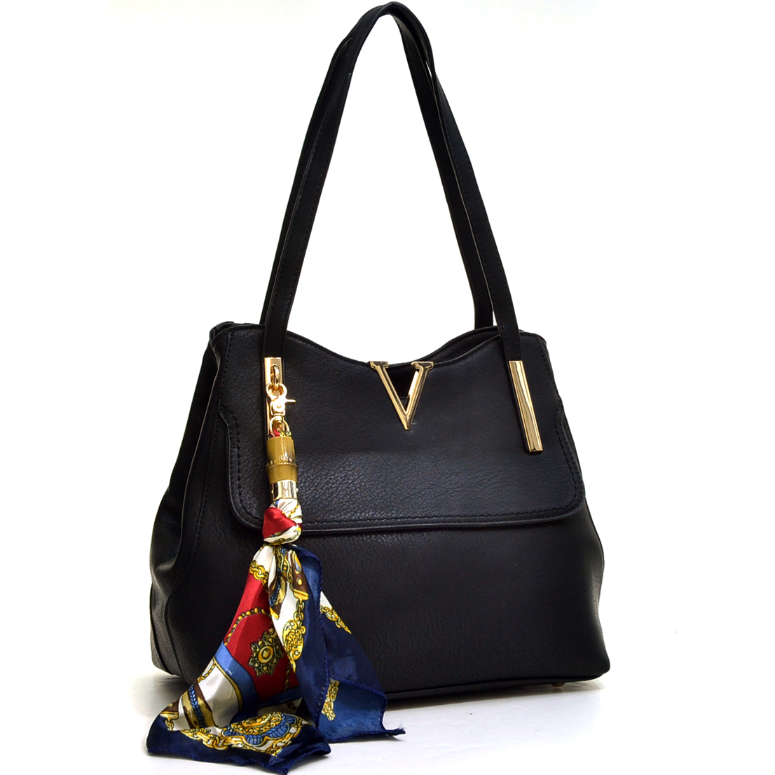 Faux Leather V Shape and Scarf Accent Shoulder Bag