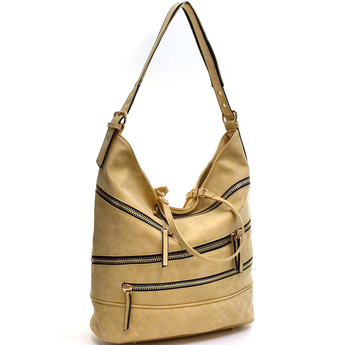 Gold-Tone Quilted Hobo Bag with Front Zipper Deco