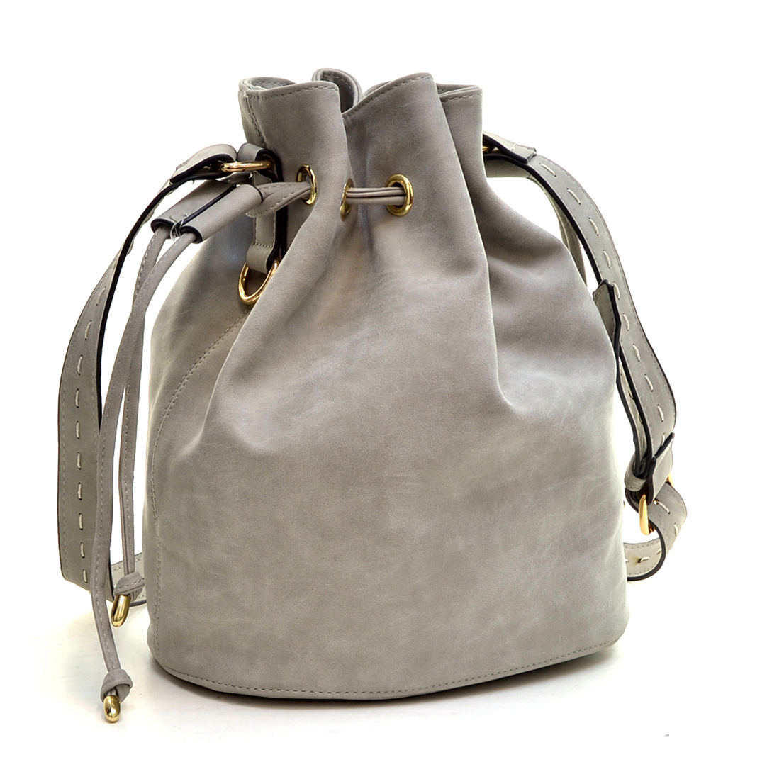 Distressed Faux Leather Drawstring Bucket Bag