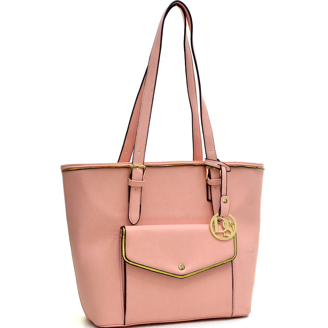 Faux Leather Envelope Front Tote Bag with Emblem