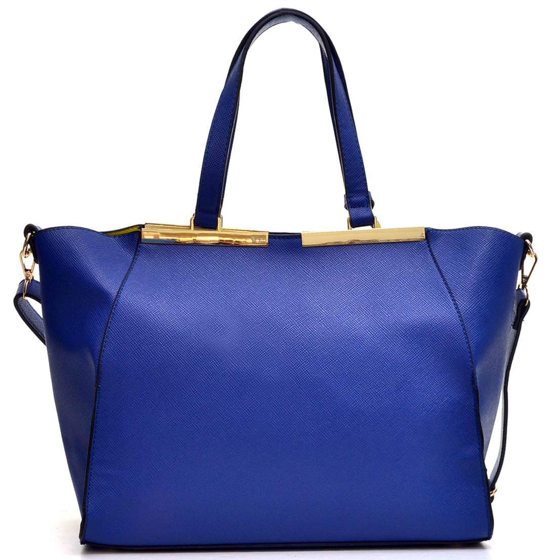Crosshatch Winged Gold-Tone Colorblock Satchel Bag
