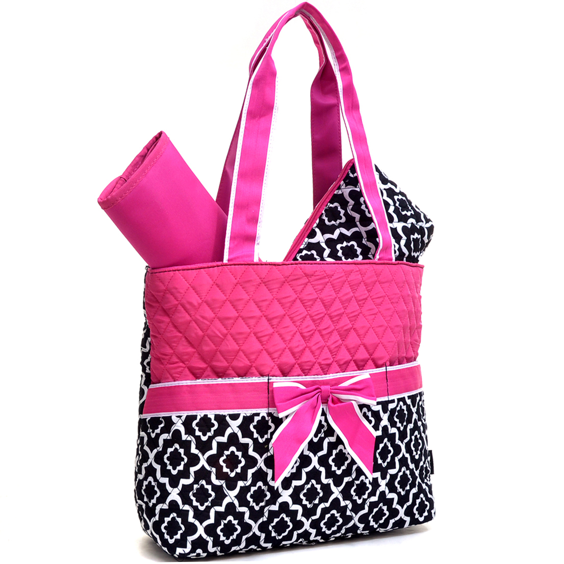 Quilted Quatrefoil Print Diaper Tote Set with Changing Mat
