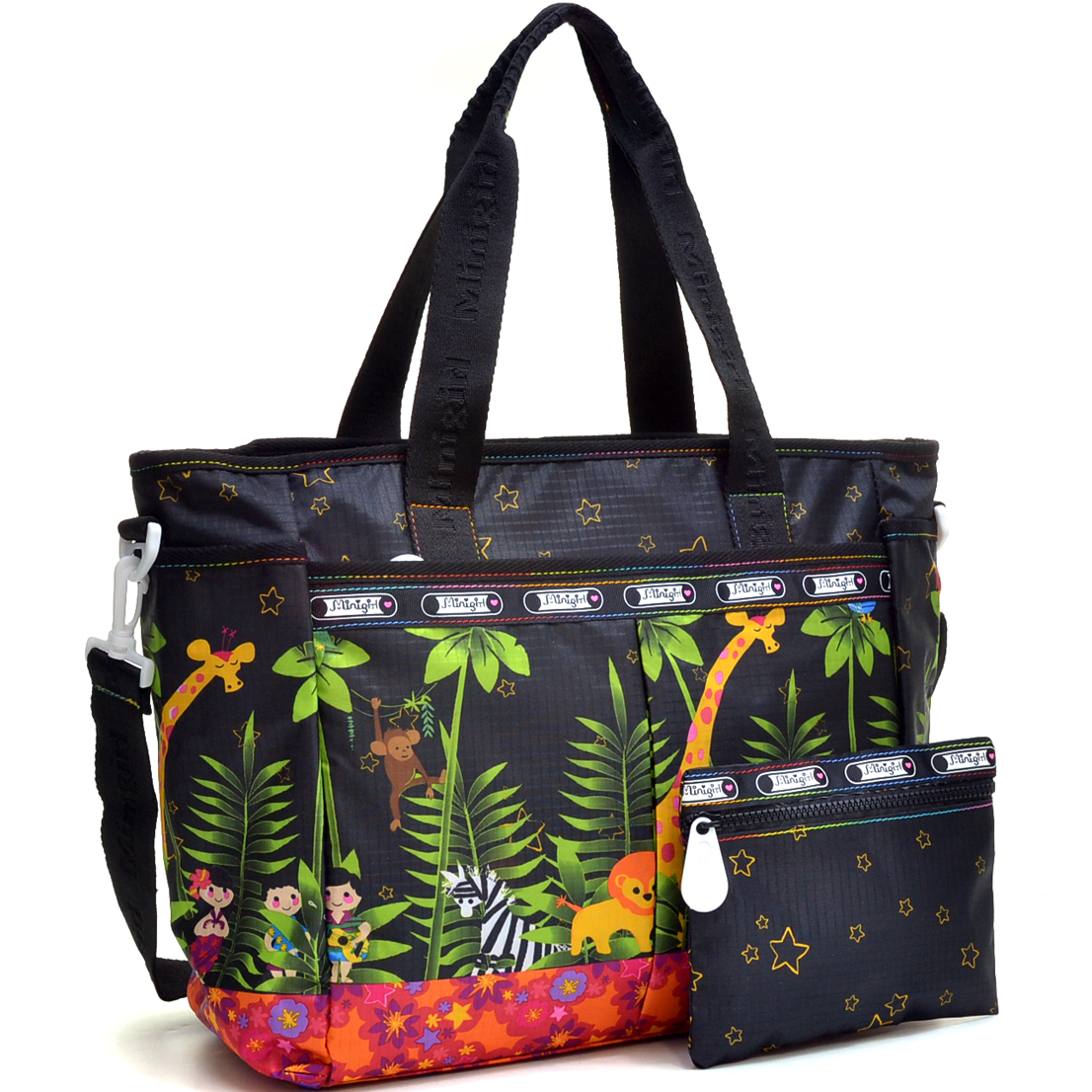 Nylon Fun Print Design Tote Bag with Shoulder Strap
