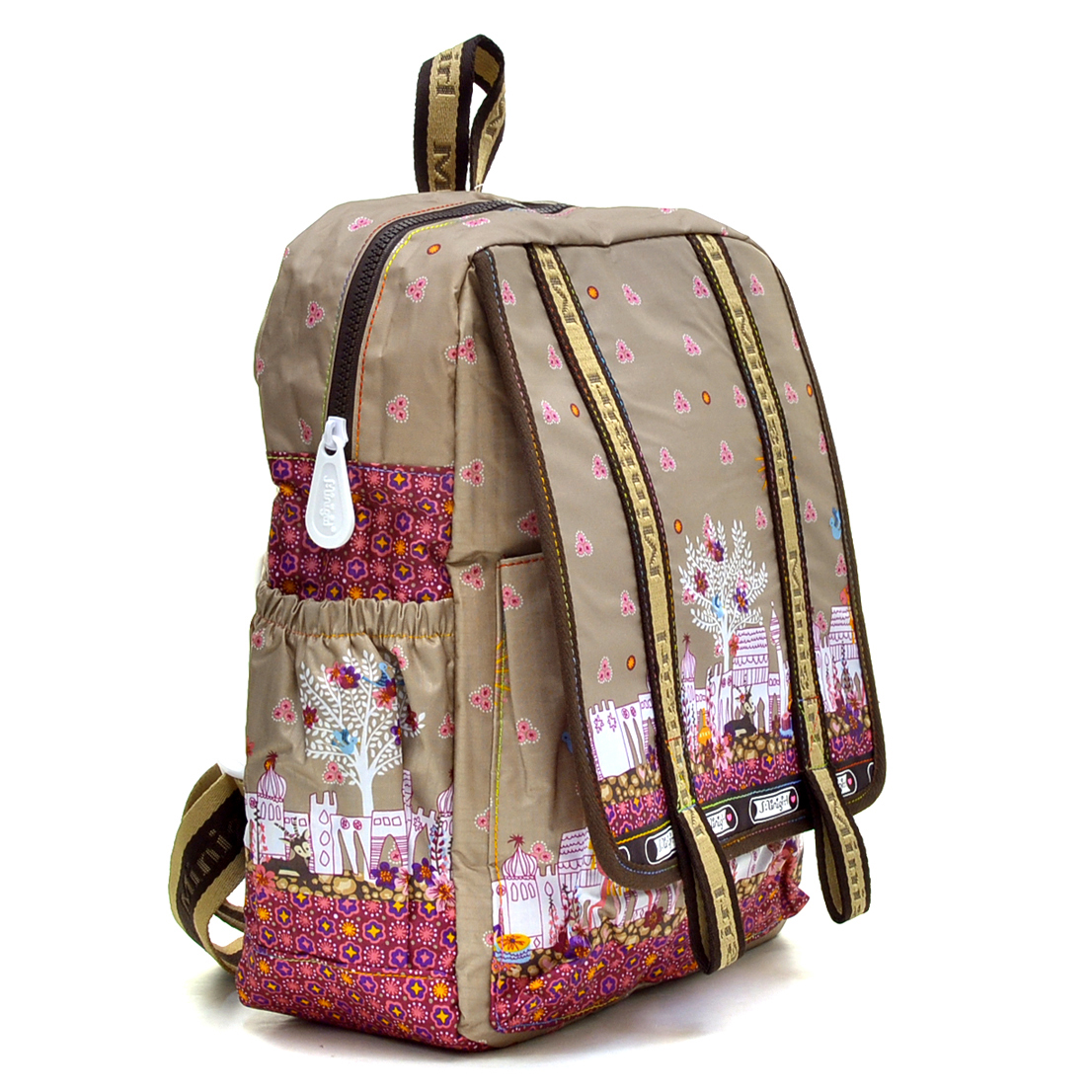 Nylon Fun Prints Backpack with Flap Over Compartment