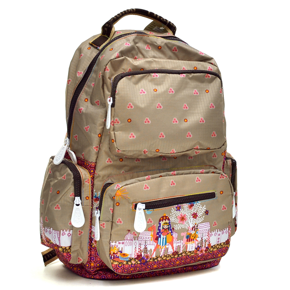 Nylon Fun Prints Backpack with Zipper Pockets