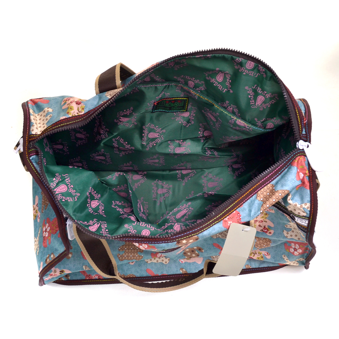 Nylon Print Duffel Bag with Removable Shoulder Strap