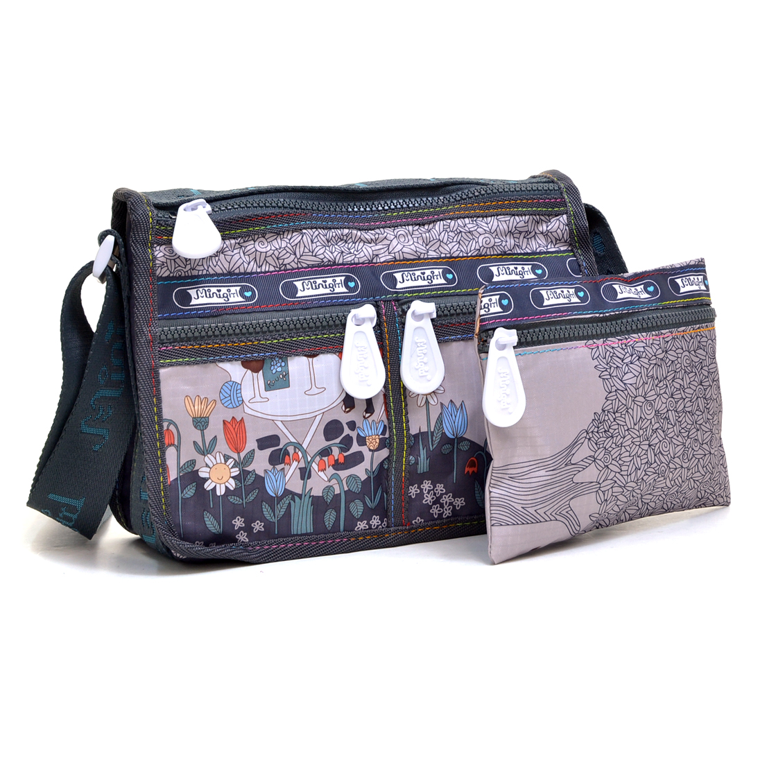 Nylon Fun Prints Messenger Bag with Organizer Bag