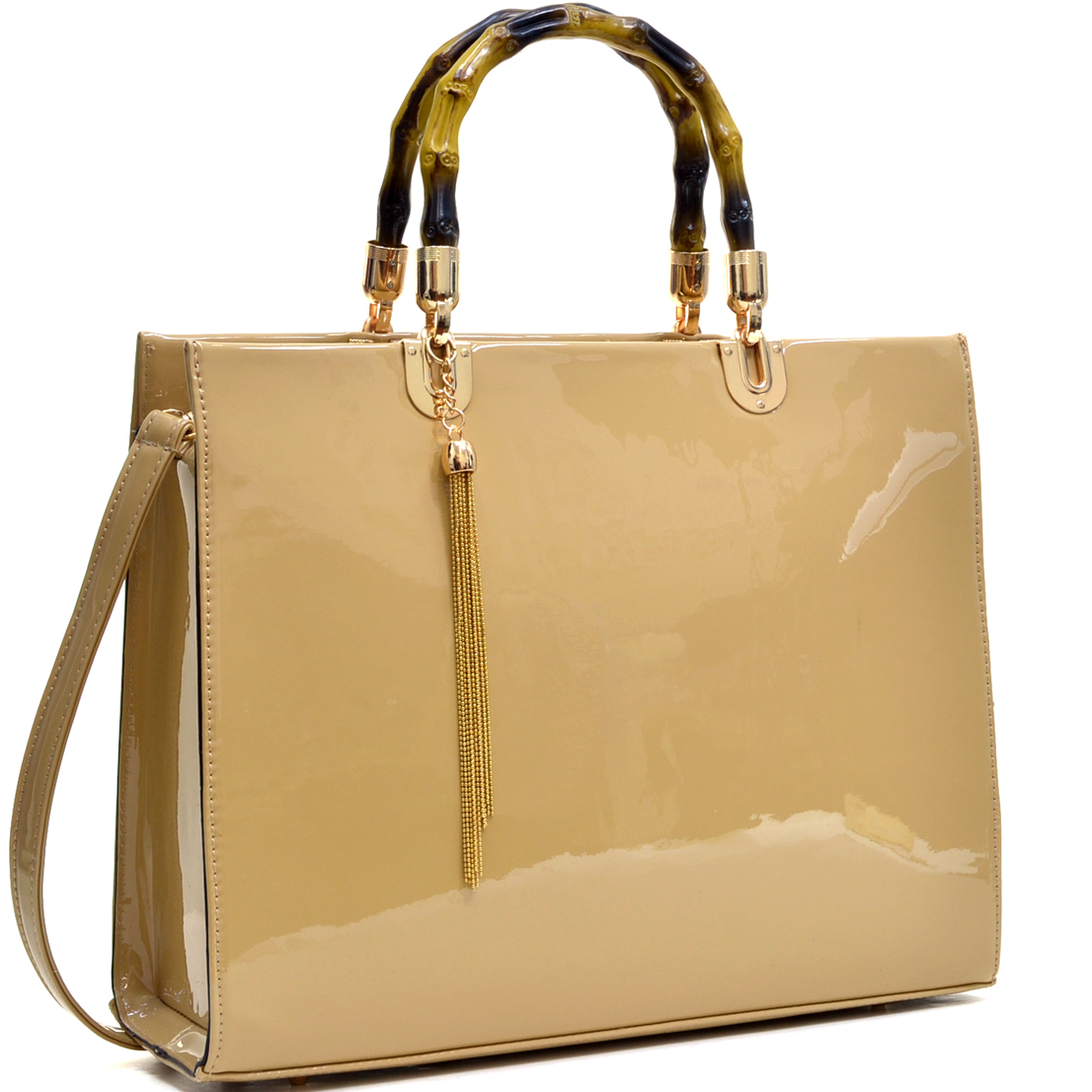 Wooden Handle Patent Leather Satchel Bag
