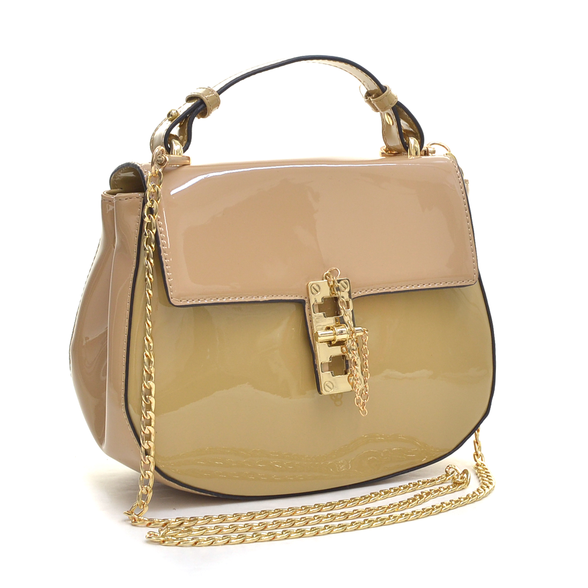 Patent Leather Crossbody Bag with Pin and Clasp-Fastening Front Flap