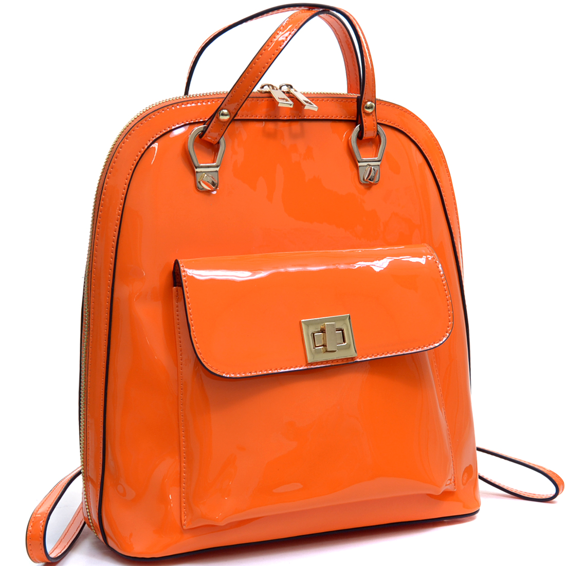 Sleek Patent Zip-Around Backpack with Front Pocket