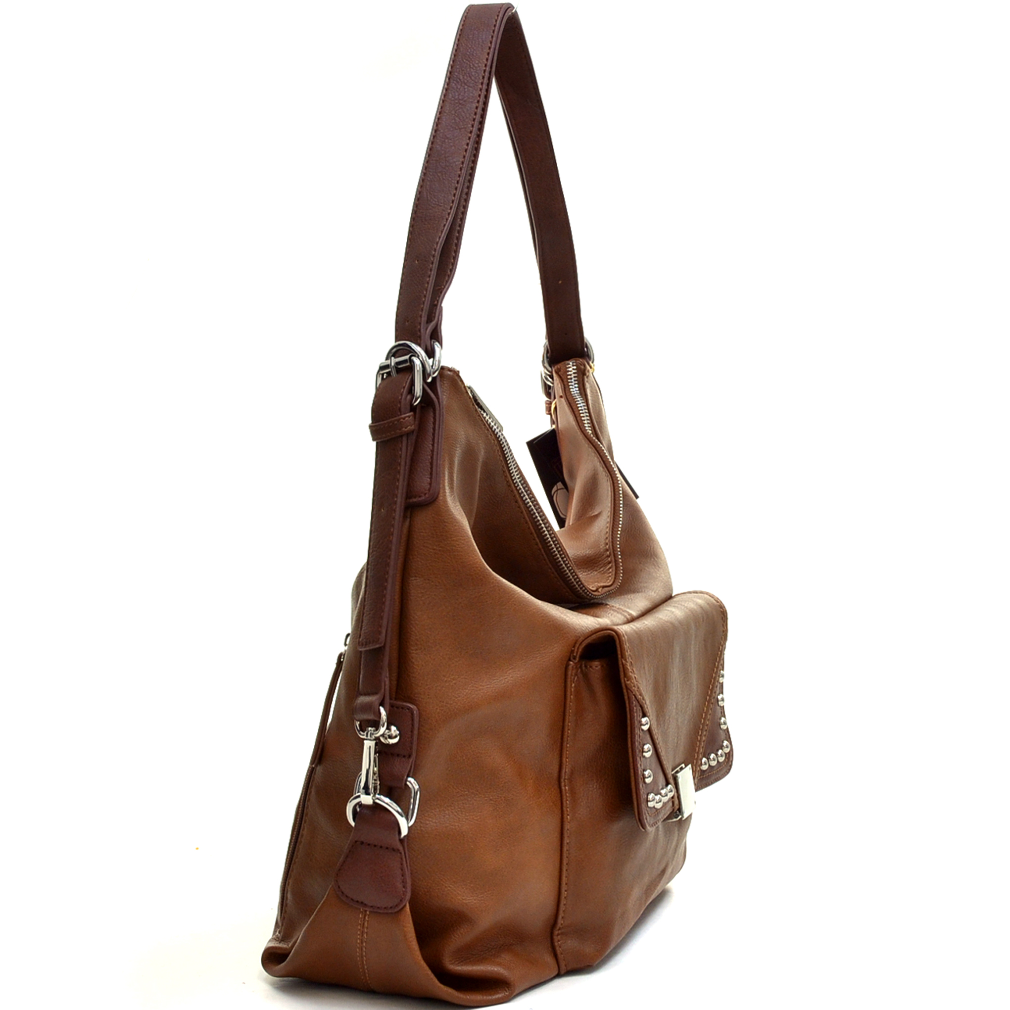 Large Concealed Carry Faux Leather Hobo Bag