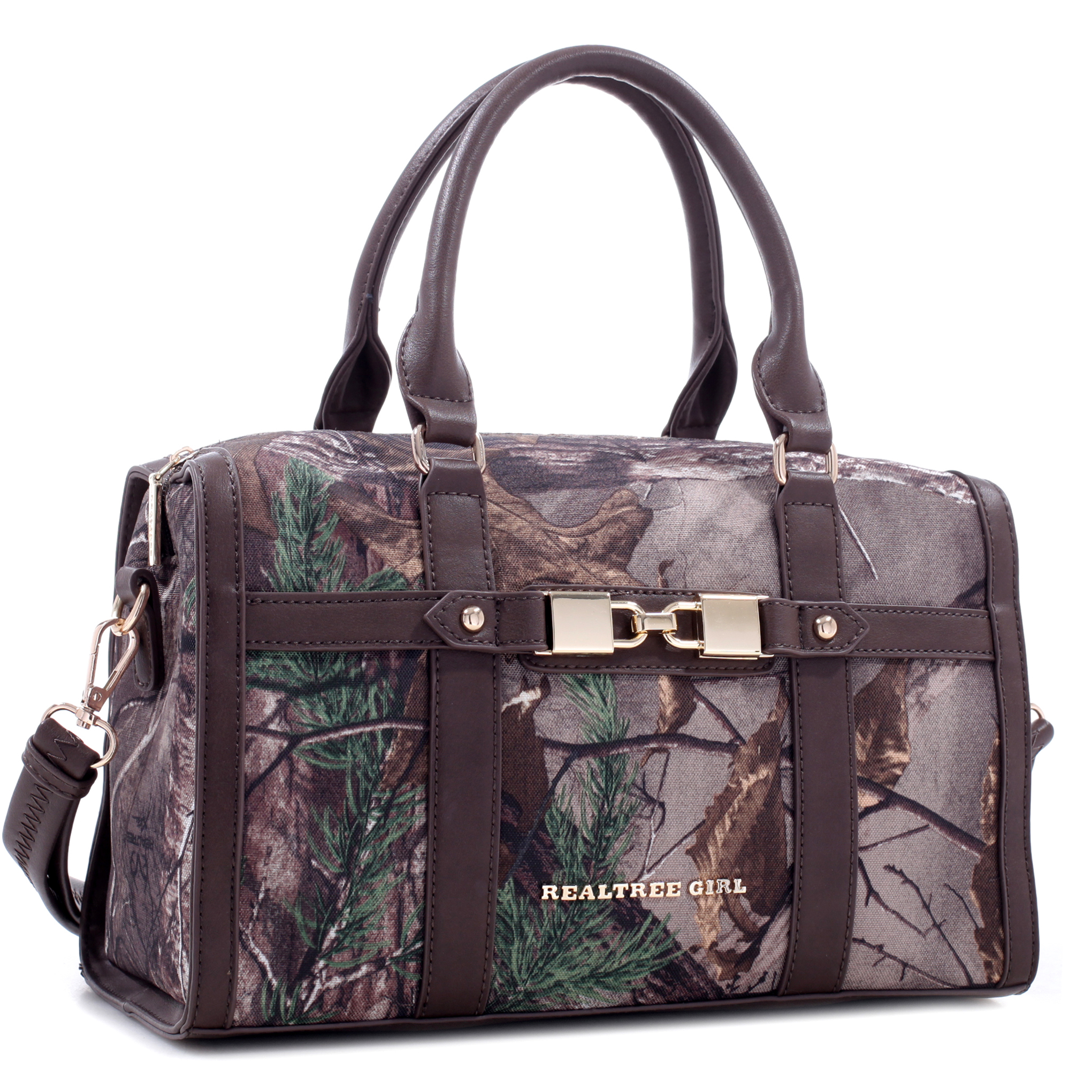 Realtree® Girl Linked Padlock Barrel Satchel with Detachable Shoulder Strap
